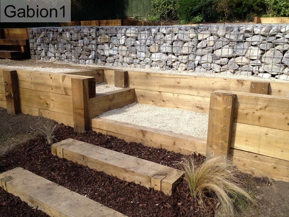 gabion retaining wall and timber garden steps httpwwwgabion1