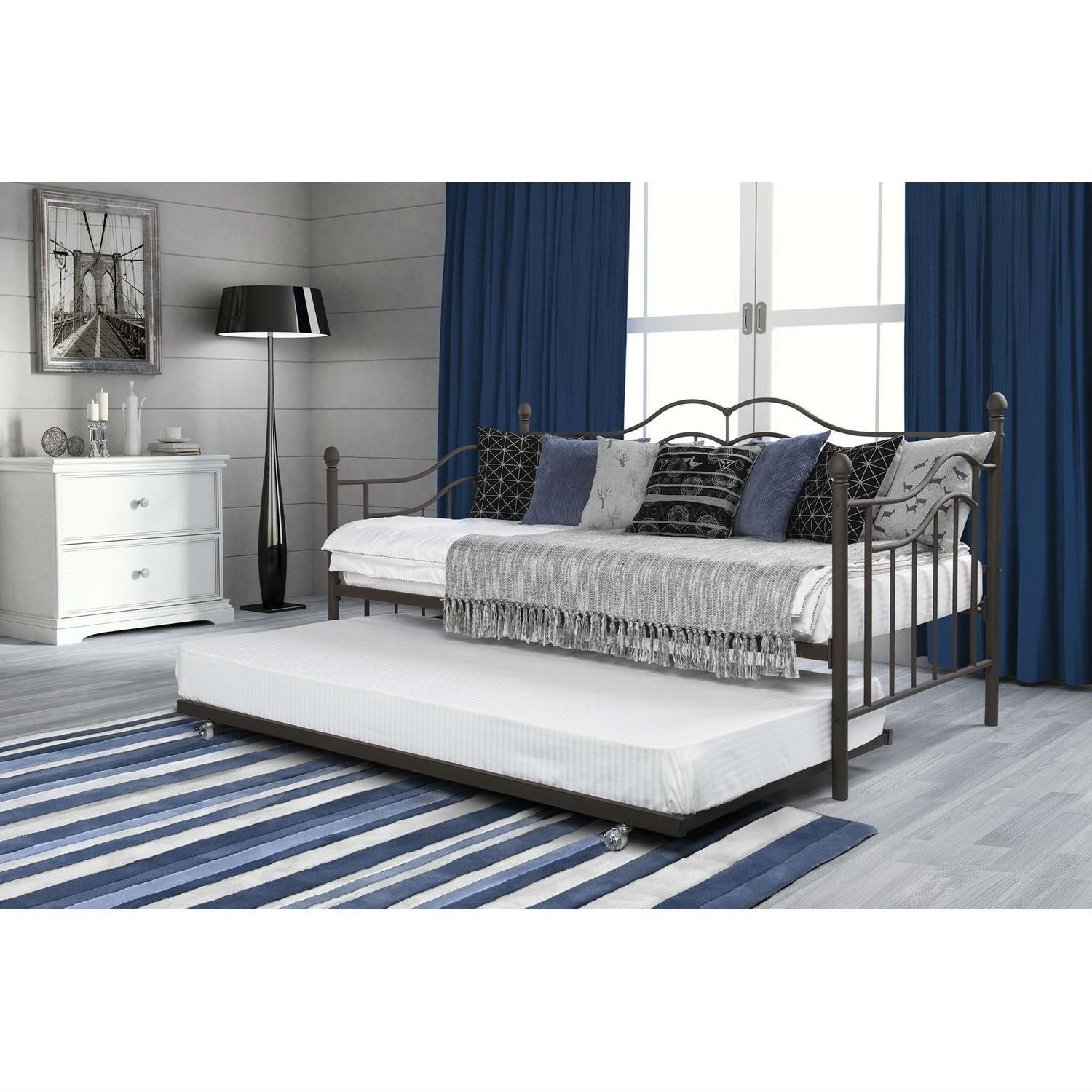 Twin loft bed craigslist  Twin Size Daybeds with Trundle Bed in Brushed Bronze Metal Finish