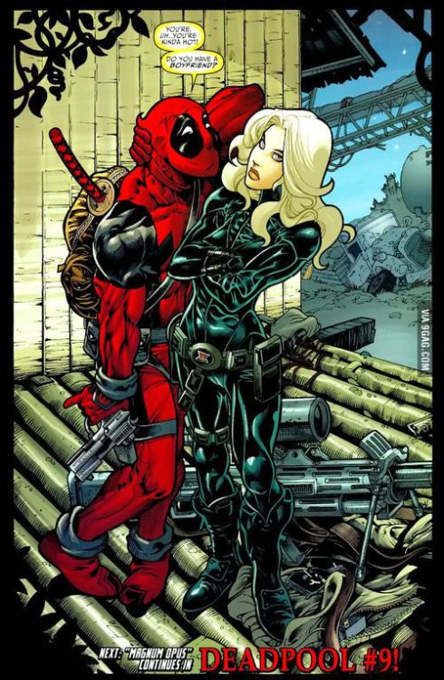 Deadpools crush on Blackwidow.. By the way Ryan Reynolds was married with Scarlette Johansson.  Deadpool