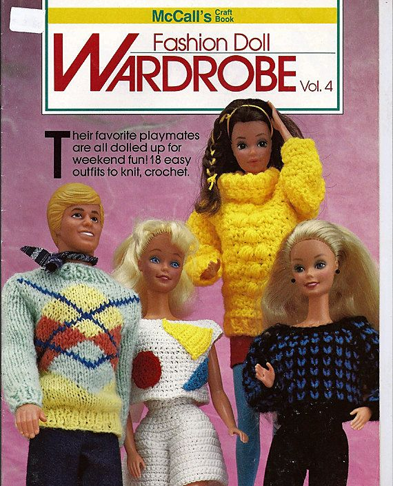 Fashion Doll Wardrobe Vol 4 Barbie and Ken Knit and Crochet Doll Clothes Patterns McCall's. $12.00, via Etsy.