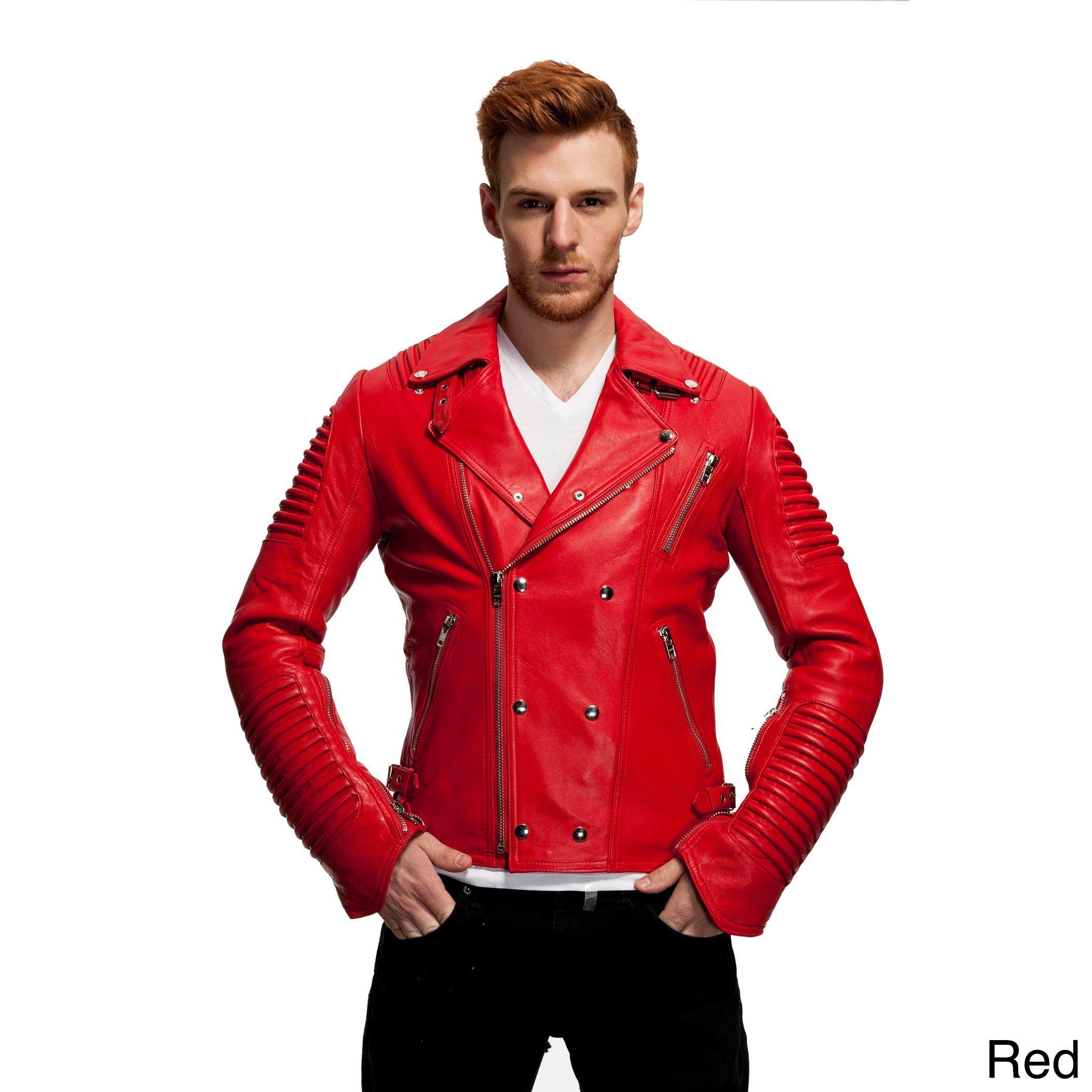 bfdc0e8a4 Mason & Cooper Men's The Empire Leather Moto Jacket (Red - 3XL ...