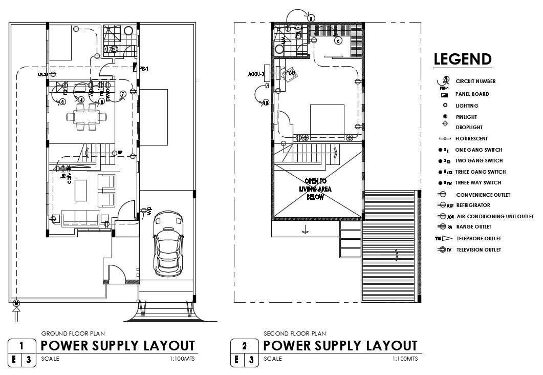 Electrical plan given in this 2D Autocad drawing file
