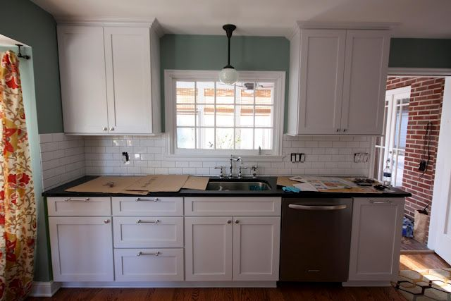 pretty kitchen, subway tile, and white cabinets