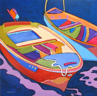 """Contemporary boat painting, """"Docked,"""" by Carolee Clark, Oregon Artist"""
