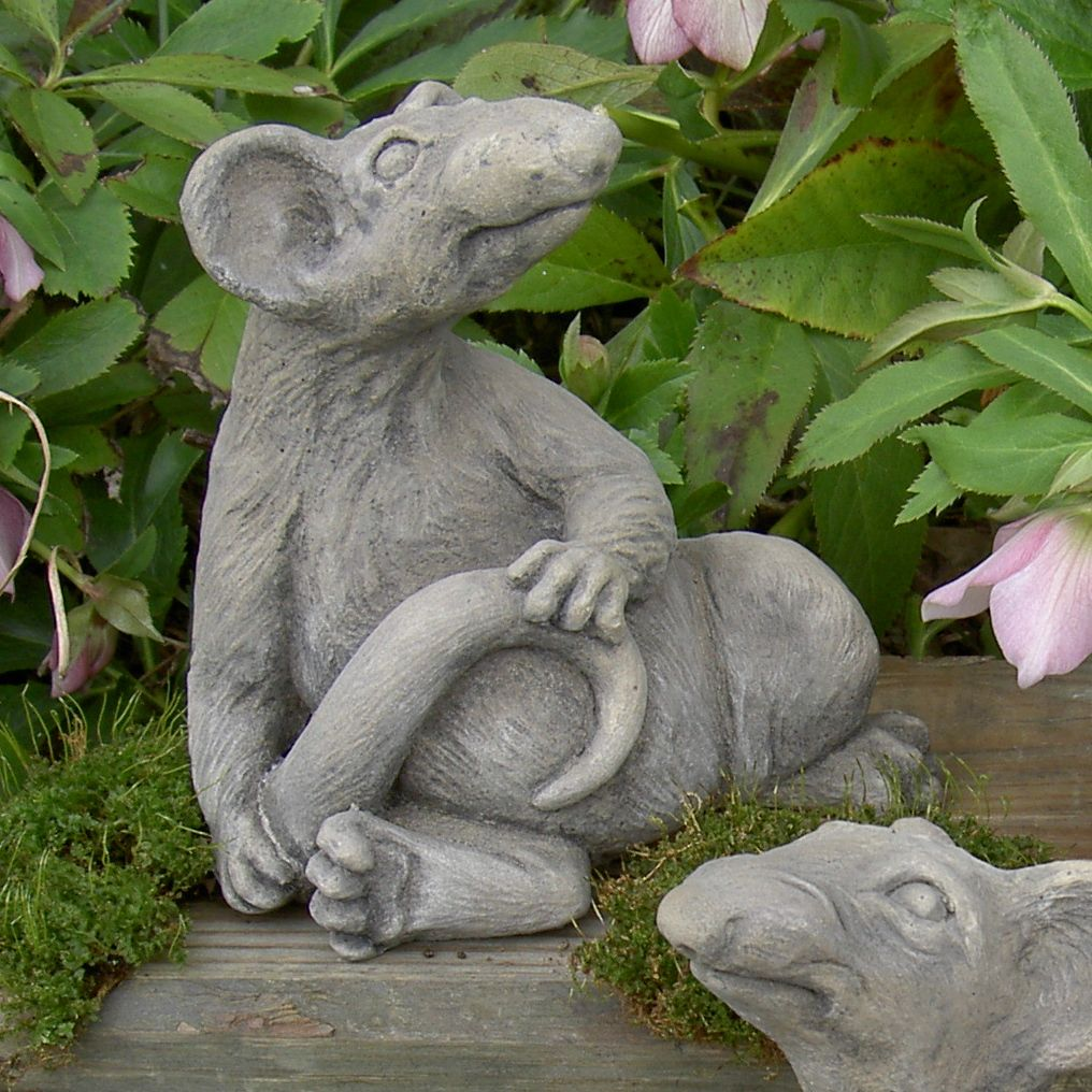 rodney rat sculpture garden decor shown in sandstone finish with