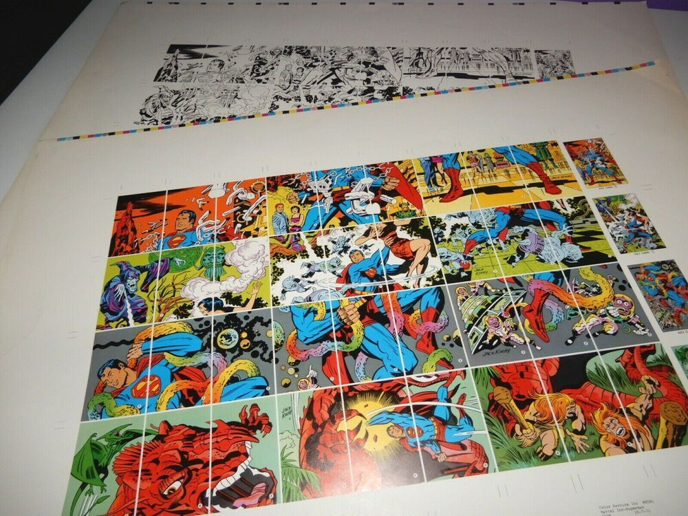 SUPERMAN Jack Kirby 1971 comic PUZZLE GAME printer proof sheets 1 b/w, 1 color jackkirby #greatdeals #superman #printer #puzzle #game #comics #painting #color