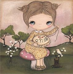 sewing hello (the poppy tree) Tags: wood pink flowers original tree cute bird mushroom girl forest painting print embroidery sew canvas needle seamstress thepoppytree