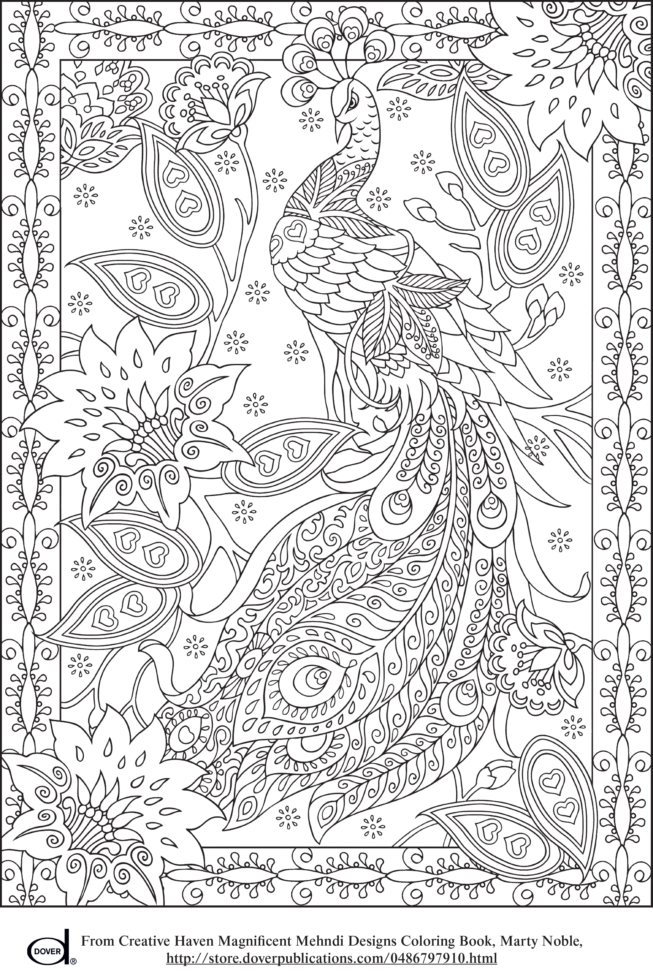 Coloring Pages Art : Peacock feather coloring pages colouring adult detailed