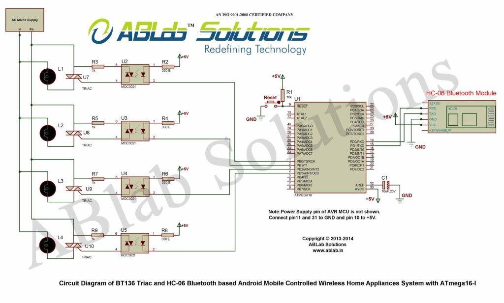 home automation learn how to design a bt136 triac and hc 06 rh pinterest com