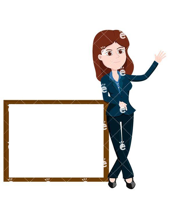 Businesswoman Standing Near A Blank Whiteboard Vector Friendlystock Business Women Free Illustrations Cartoon Illustration