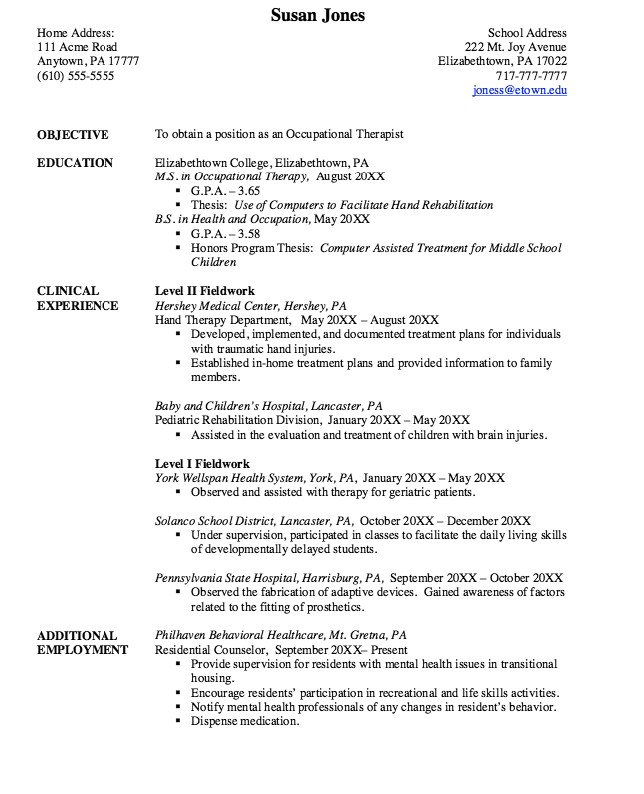 Resume help examples recreational therapist