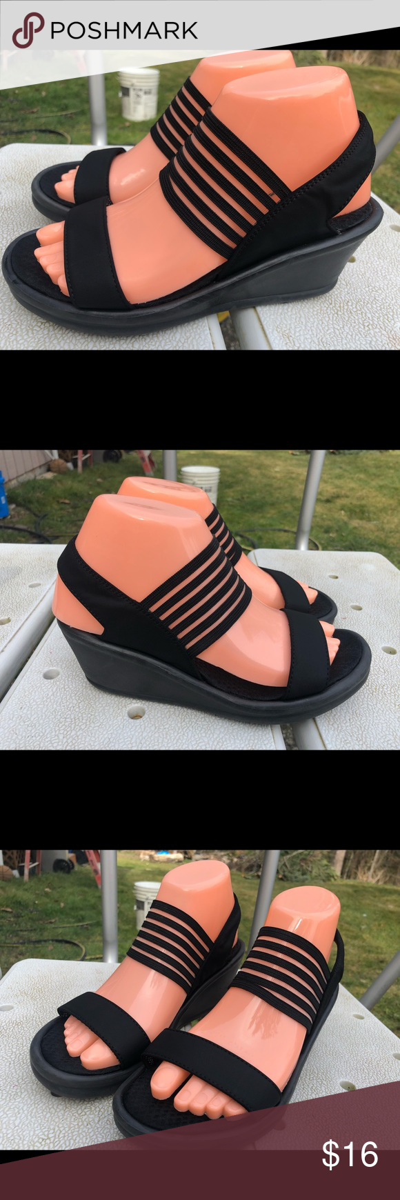 cada66b5d5 Skechers 38472 Rumblers Sci-Fi Black Sandals SZ. 7 Skechers 38472 Rumblers  Sci-Fi Black Slide On Wedge Sandals Size 7 are good condition, there is no  stains ...