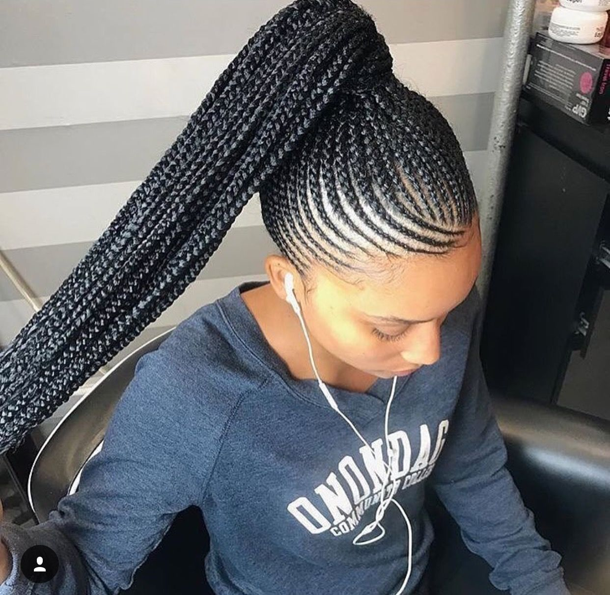 Best Hairstyle For Men With Thick Wavy Hair Feed In Braids Ponytail African Braids Hairstyles Braided Ponytail Hairstyles