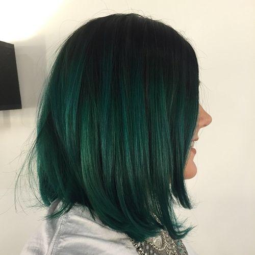 40 Vivid Ideas For Black Ombre Hair Black Hair Ombre Hair Styles Green Hair