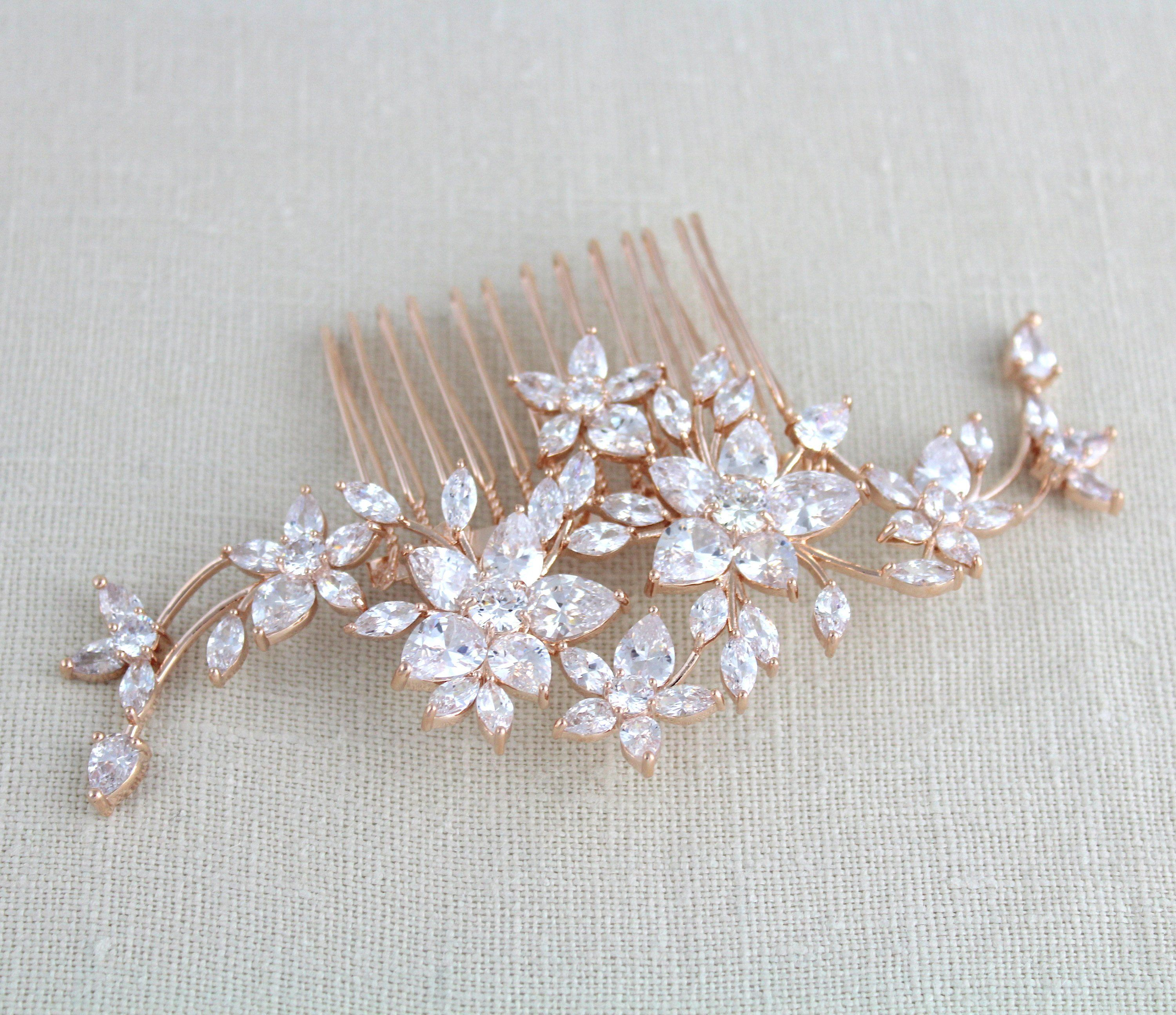 Rose gold hair comb bridal hair comb rose gold headpiece crystal