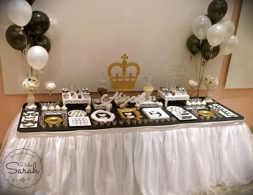 Royal black and white party dessert table! See more party planning ideas at CatchMyParty.com!