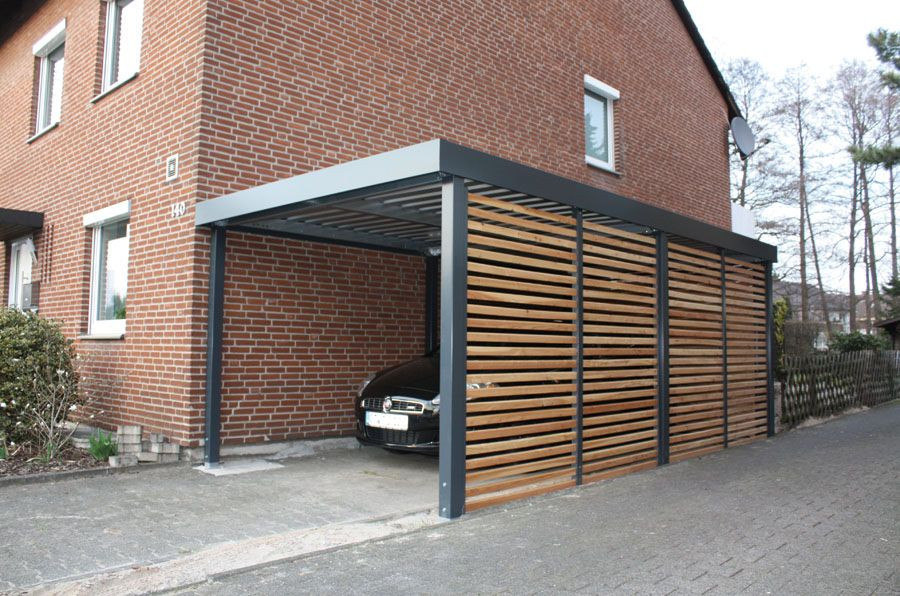 einzelcarport als flachdachcarport variante aus feuerverzinktem stahl made in germany mit 10. Black Bedroom Furniture Sets. Home Design Ideas