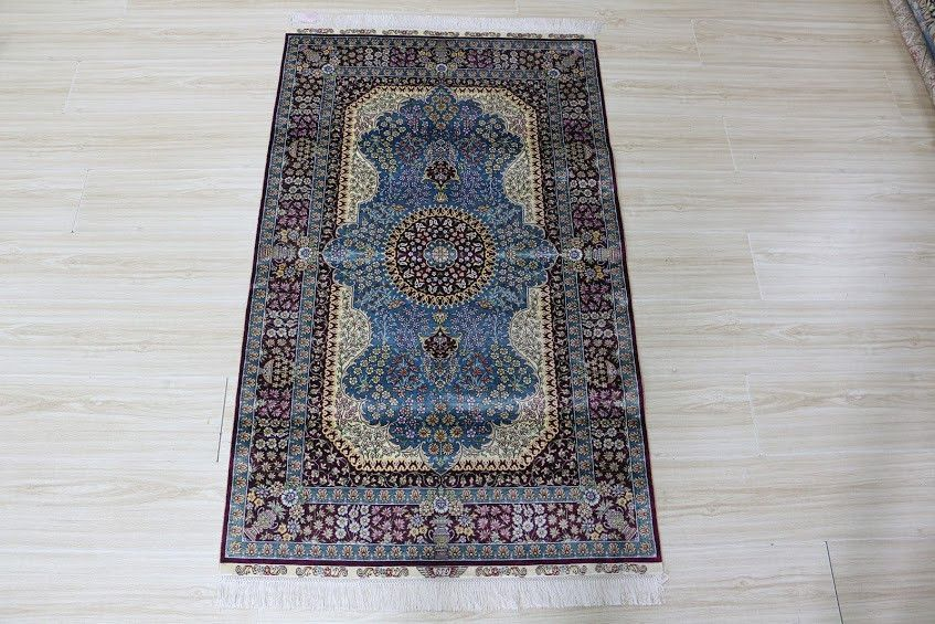 3'X5' Hand Knotted Pure Silk Rug Traditional Persian Floral Medallion Pattern (SYX-3507, Blue & Multi)