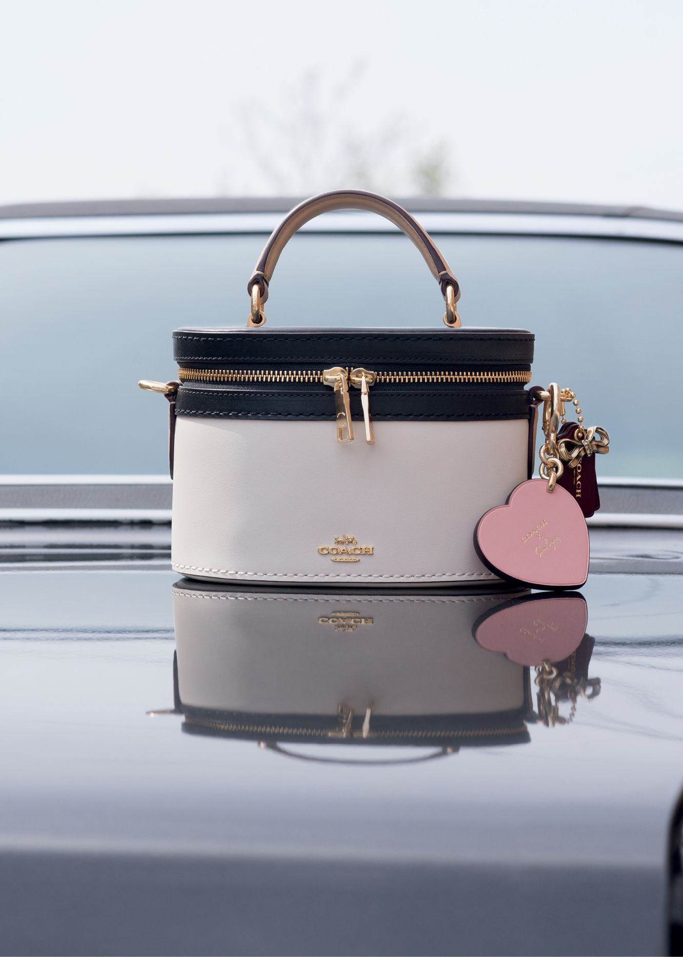 27ffd61f29 The Selena Trail Bag In Colorblock and Selena Heart Bag Charm.  CoachxSelena