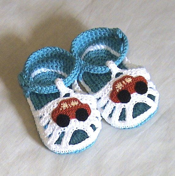 Crochet baby sandals,Crochet boys sandals,Crochet blue and white ...