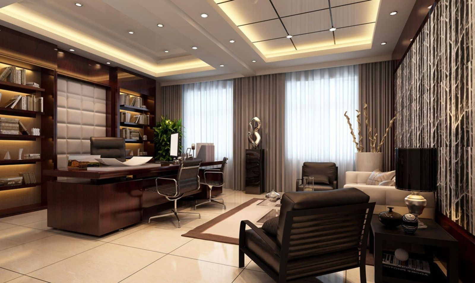 Modern ceo office interior design with executive office for Office room interior design ideas
