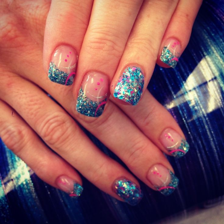 Powder Nail Designs | Aqua glitter summer nails in solar powder | Nail and  Hair Designs - Powder Nail Designs Aqua Glitter Summer Nails In Solar Powder
