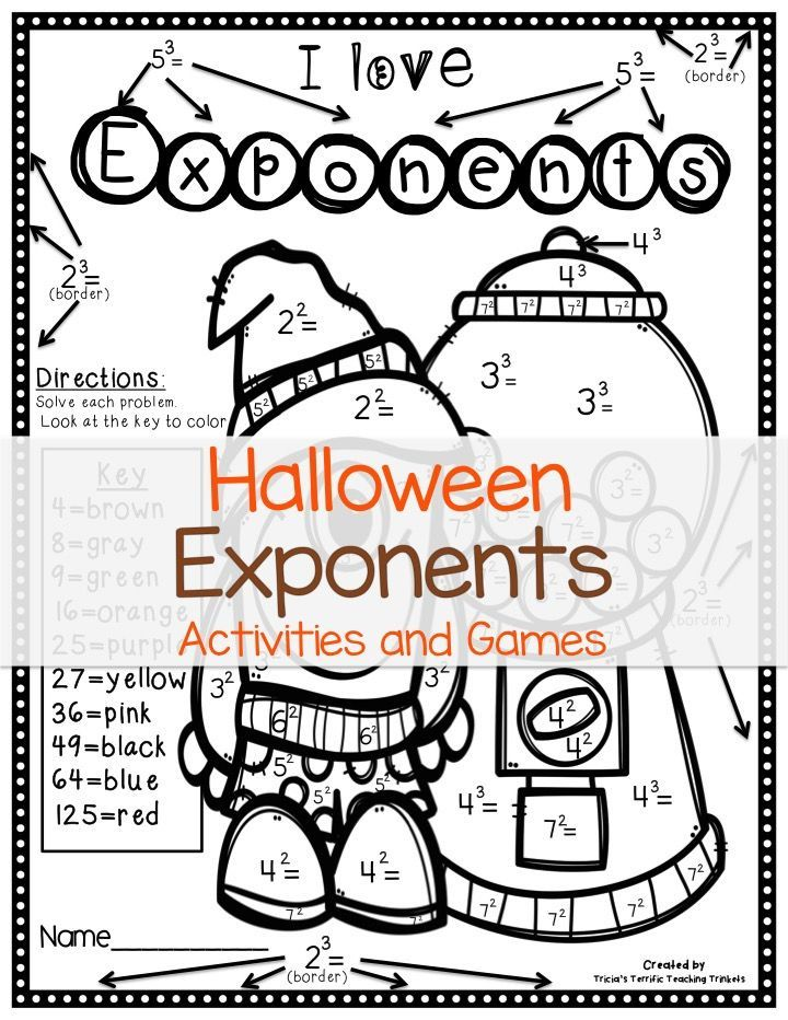 Halloween Math Worksheets Halloween Math Worksheets Exponent Activities Exponents