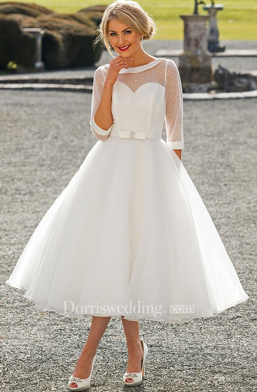 16eefe121d0a Tea-Length A-Line Bateau Neck Illusion Sleeve Bowed Tulle Wedding Dress - Dorris  Wedding