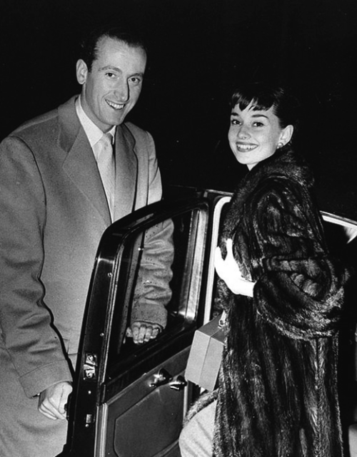 October 1st, 1952: Audrey Hepburn photographed with fiance James Hanson