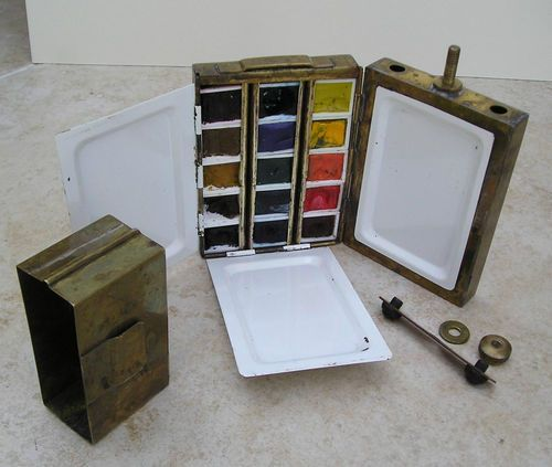 Brass Artists Watercolour Pocket Field Box 15 Winsor Newton Half