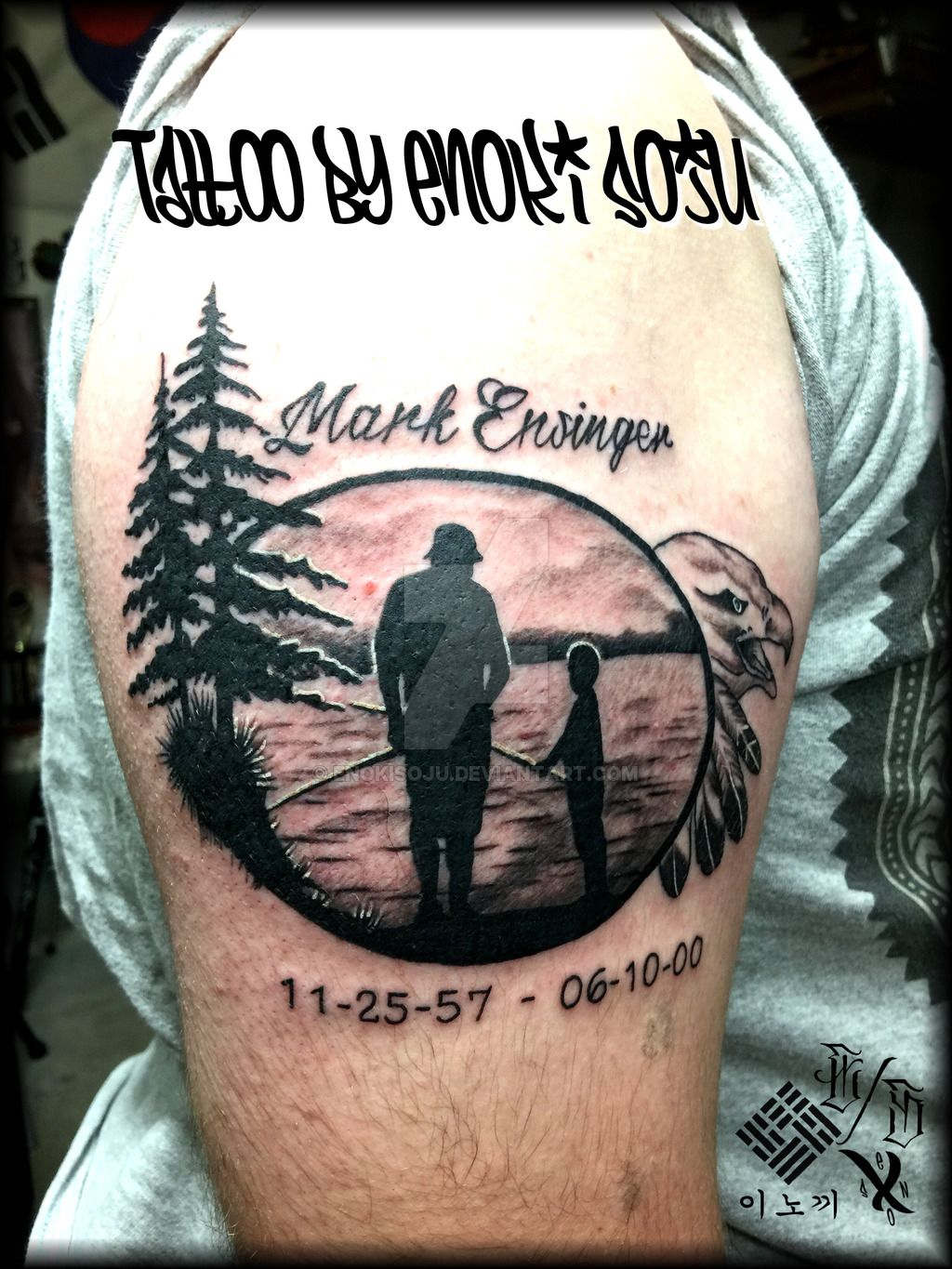 Father son fishing lake trees tattoo by enoki soju by for Father son memorial tattoos