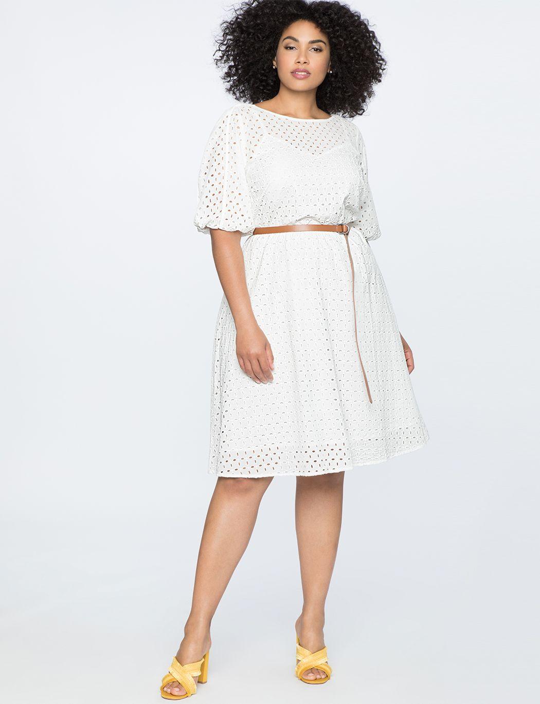 Boatneck Eyelet Dress With Piping Soft White Eyelet Dress Plus Size Dresses Fashion [ 1370 x 1050 Pixel ]