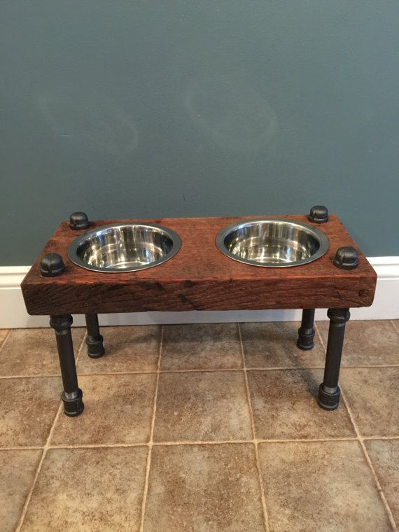 Raised Dog Feeder Reclaimed Barn Wood Up Cycle Metal Piping