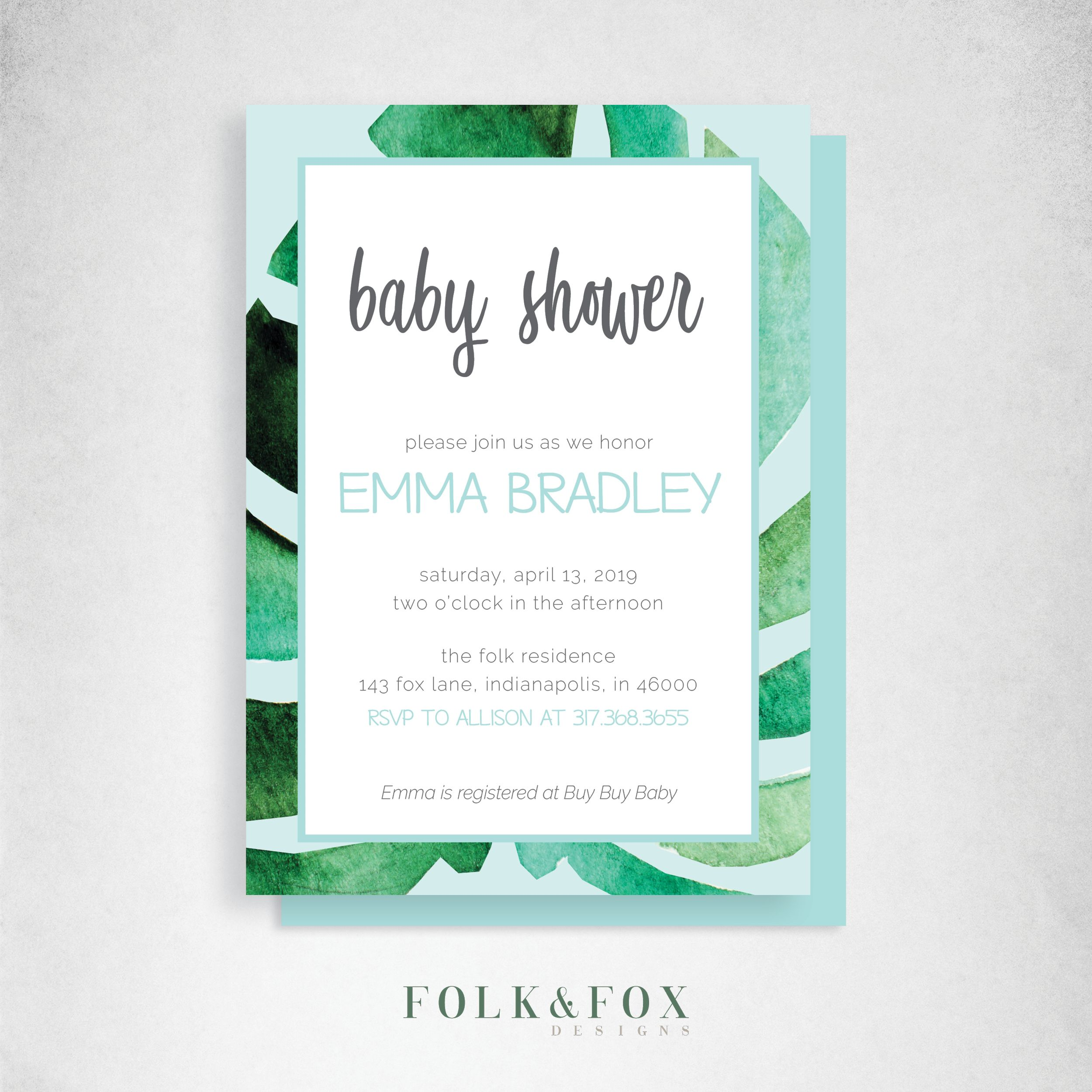Tropical Baby Shower Invitation, Printable Invitation, Baby Shower Invite, Gender