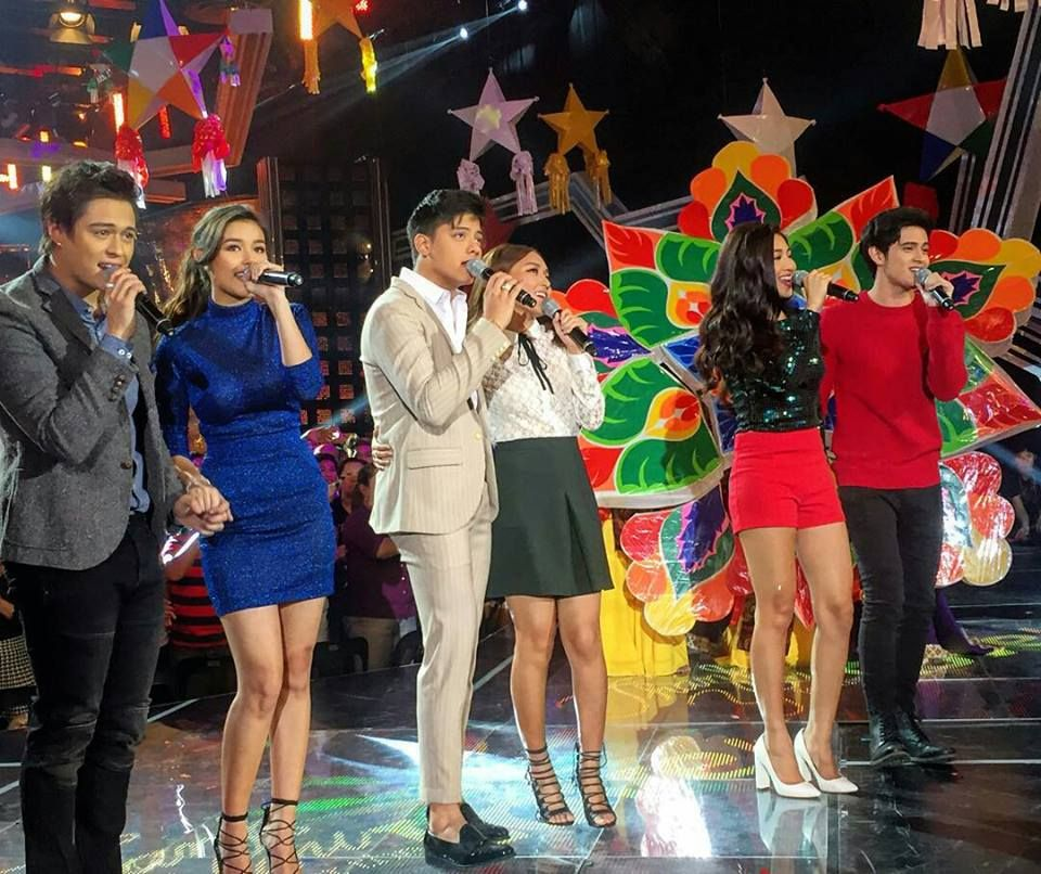 This is LizQuen, KathNiel, and JaDine performing the theme