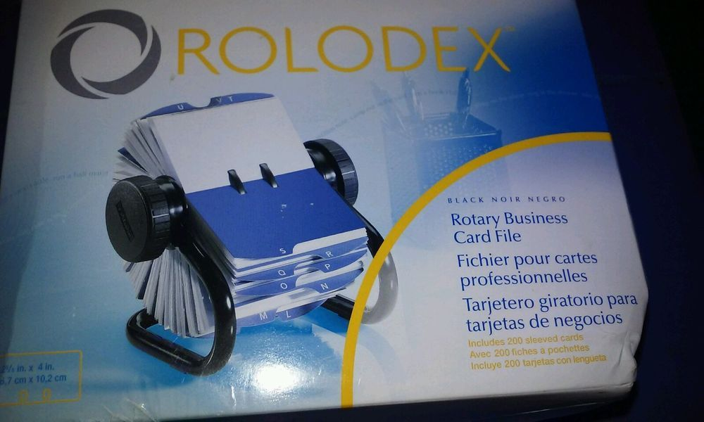 Rolodex Black Rotary Business Card File with 200 Card Sleeves ...