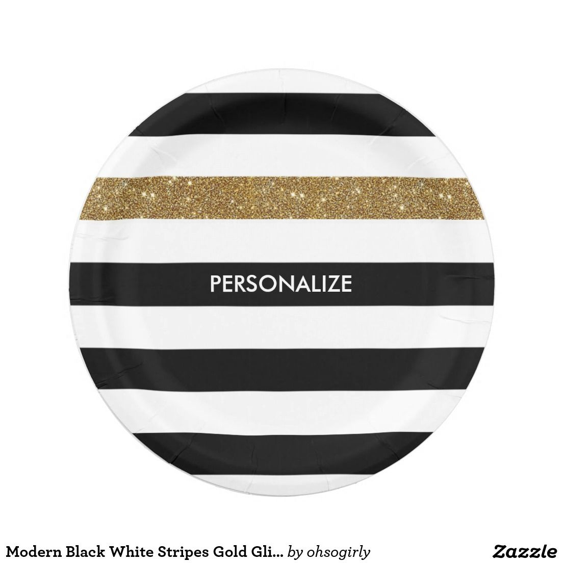 $1.60 for 8 - Modern Black White Stripes Gold Glitter and Name 7 Inch Paper Plate