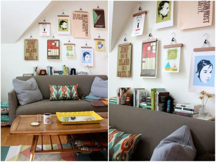kreative Wandgestaltung Wohnzimmer Ideen Kleiderbügel Klammern - wohnzimmer ideen petrol
