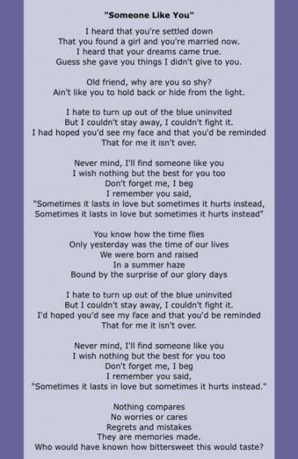 Madison : Don't forget me lyrics adele