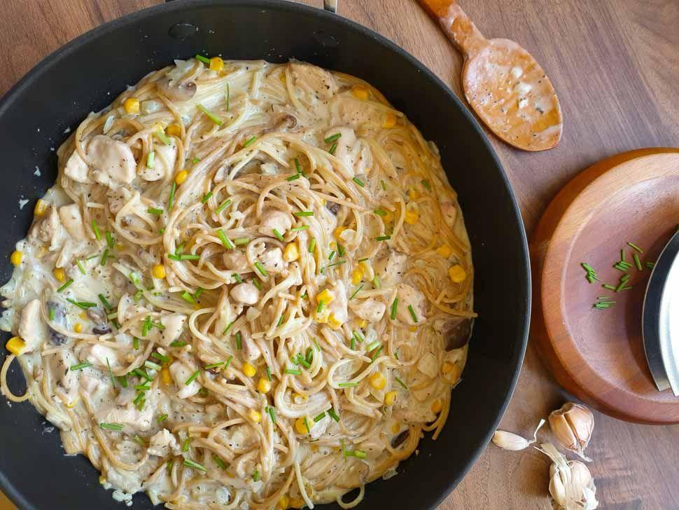 white sauce chicken and mushroom pasta recipe mushroom pasta stuffed mushrooms white sauce on hebbar s kitchen white sauce pasta id=89201