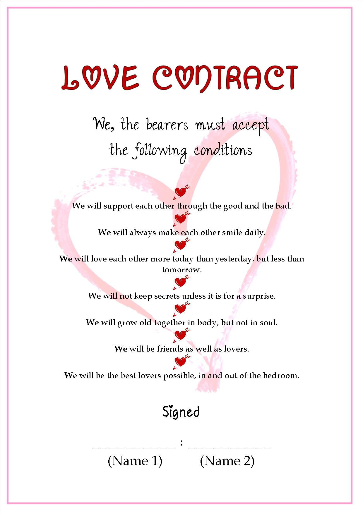personalized love contract
