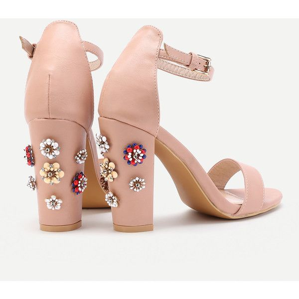 Rhinestone Flower Detail Blocked Heeled Sandals ❤ liked on Polyvore featuring shoes and sandals