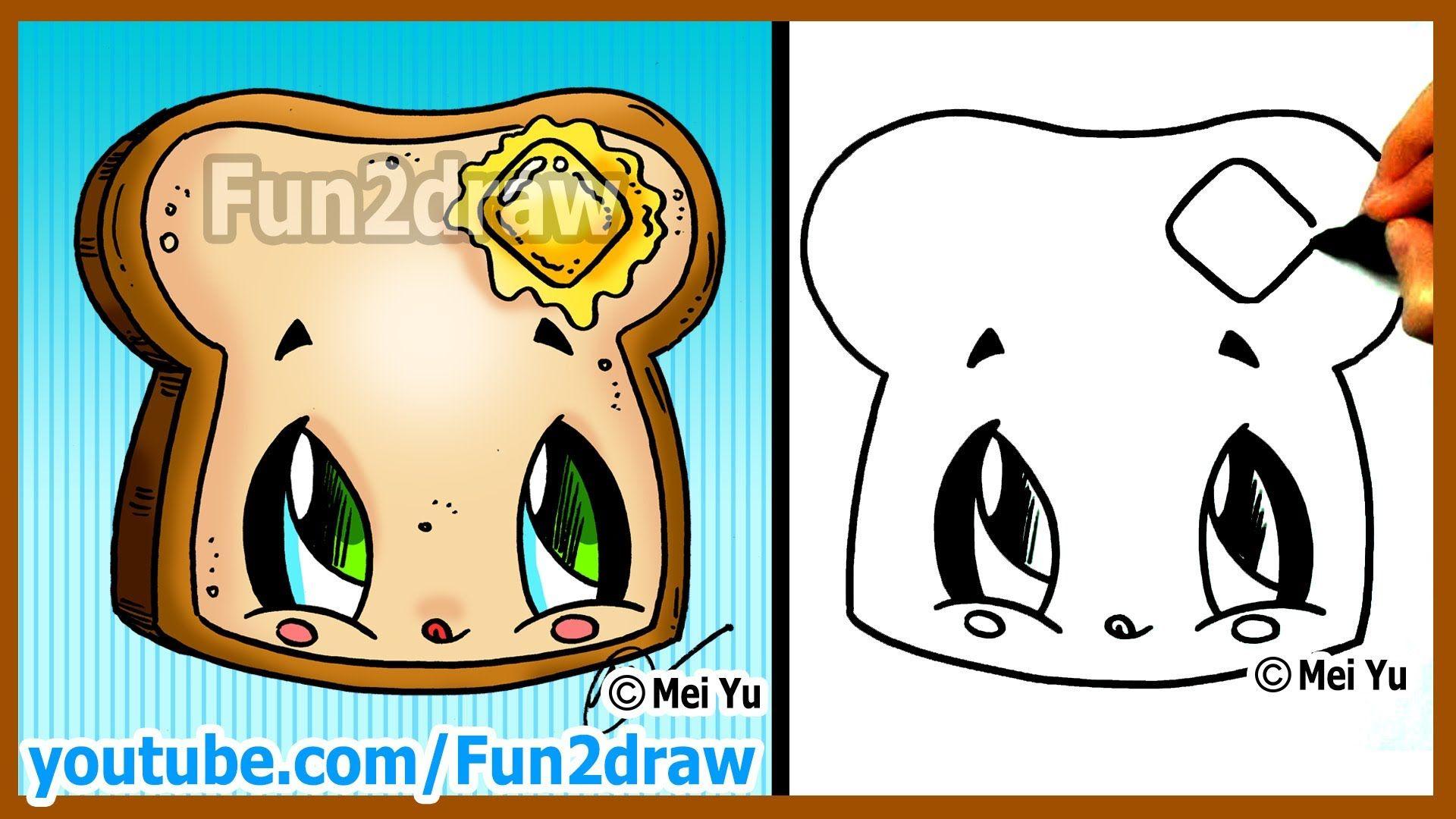 how to draw cartoons kawaii toast butter fun2draw