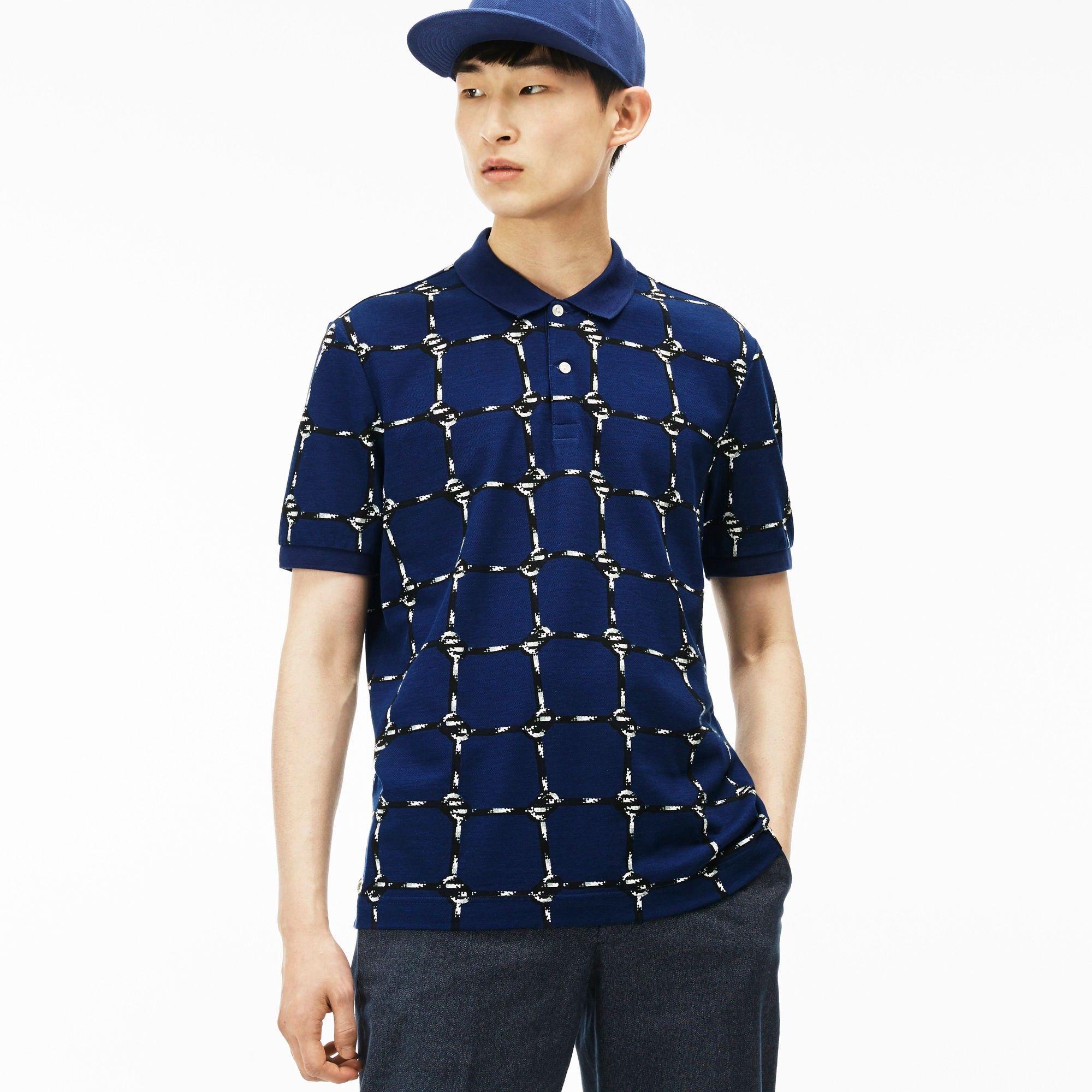 b8af0453 LACOSTE Men'S L!Ve Rope Graphic Print Mini Piqué Polo Shirt ...