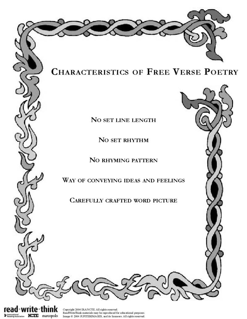 free verse characteristics   Education   Free verse, Rhyming