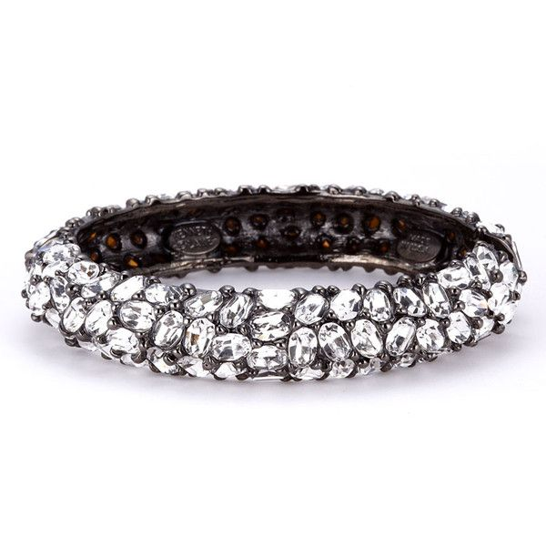 Kenneth Jay Lane Gunmetal Black Crystal Bracelet Black 5quCoG3