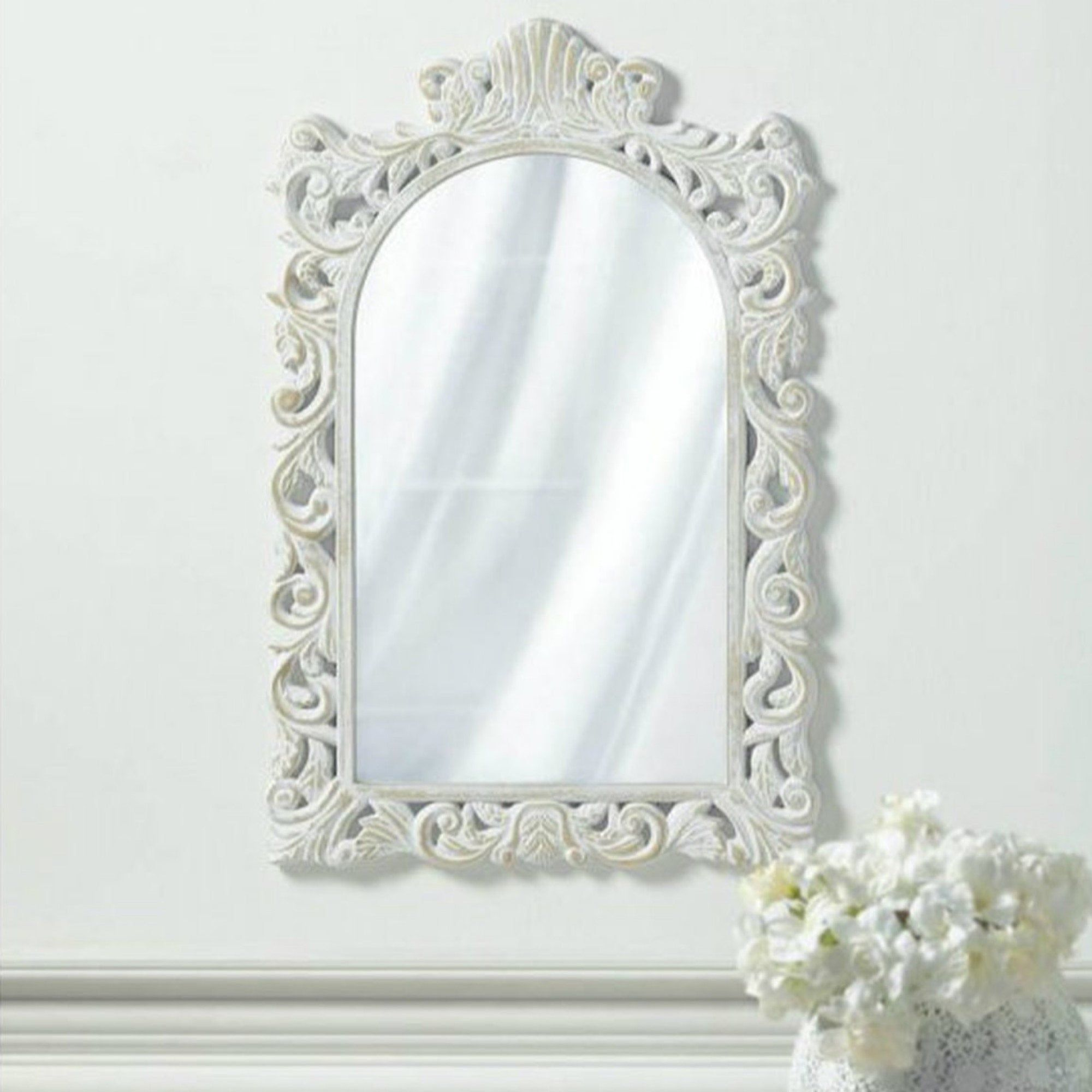 Excited To Share The Latest Addition To My Etsy Shop Grand Distressed White Wall Mirror Https Etsy Me 2tc In 2020 White Wall Mirrors Mirror Wall White Mirror Frame