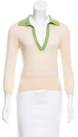 Prada Pointed Collar Silk-Cashmere Sweater