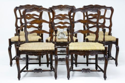 FRENCH CARVED OAK LADDER BACK CHAIRS