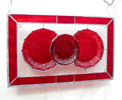 Stained Glass Plate Panel with vintage Avon Cape Cod plates